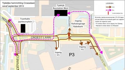 Vanaf september is er geen doorgaand autoverkeer meer mogelijk op de Croeselaan ter hoogte van de Rabostraat.