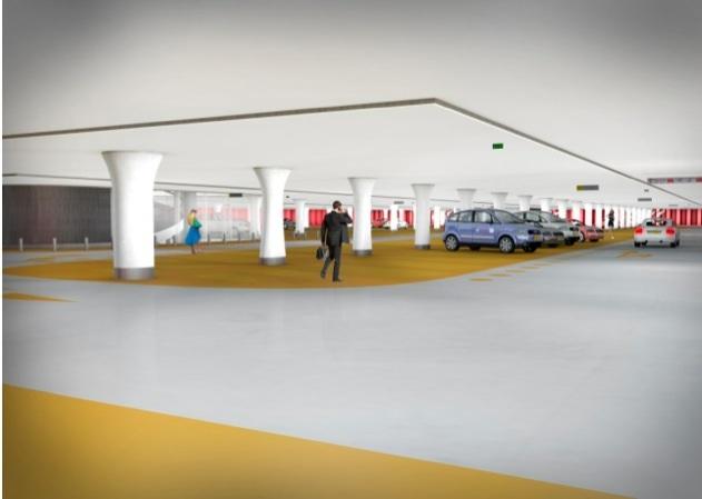 Impressie van de parkeergarage Jaarbeursplein (Bron: Witteveen+Bos - Zwarts & Jansma Architecten)
